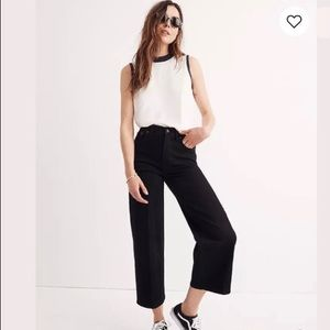 Madewell Wide Leg Crop Pants in Black size 32